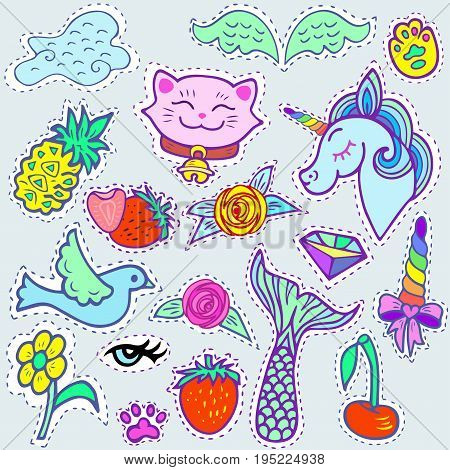 Fashion patch badges with  blue unicorn, pink cat, Mermaid's tail, cloud and other elements for girls. Vector illustrations isolated on background.