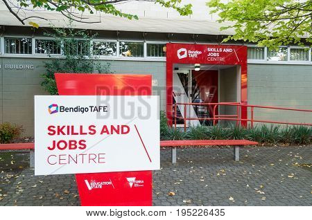 Bendigo, Australia - April 15, 2017: campus of Bendigo TAFE, a public college of technical and further education.