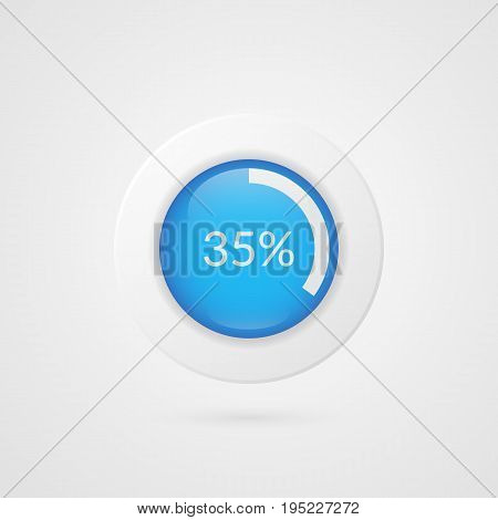 35 percent pie chart. Percentage vector infographics. Circle diagram isolated symbol. Business illustration icon for marketing presentation project planning download report web design