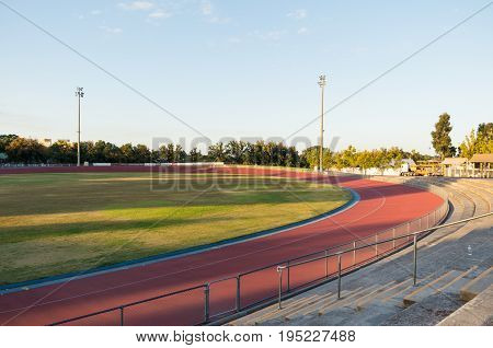 Bendigo, Australia - April 15, 2017: Tom Flood Sports Centre is an athletics track in central Bendigo. It is a proposed venue for the 2030 Commonwealth Games.