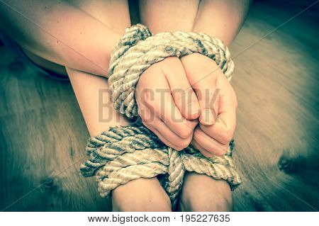 Kidnapped Woman Tied With Rope
