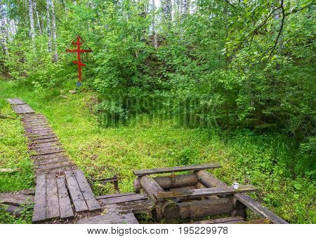 On the sacred source of Mary Magdalene on a summer day in Kadyysky district of the Kostroma region Russia.