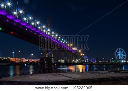 Bolte Bridge crossing the Yarra River at Docklands in Melbourne, Australia