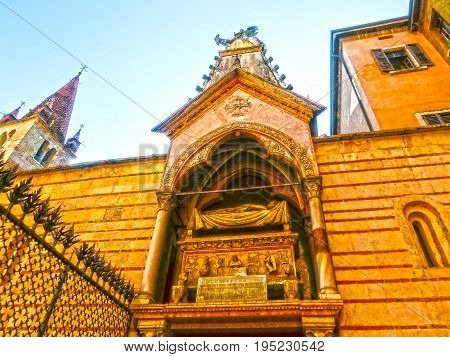 Scaligeri arch in Verona, Italy near Santa Maria Antica church