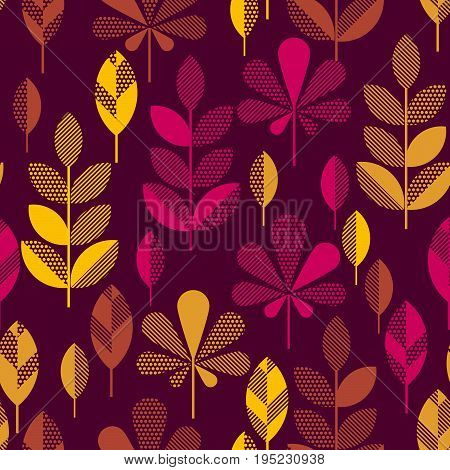 autumn leaves vector illustration abstract. seamless pattern with colorfull full leaf on darck black background