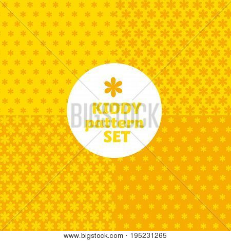 yellow daisy flower simple bright color pattern motif for kids. vector background with geometry shape icons.