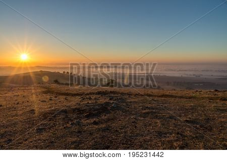 Early morning view from Mount Major at Dookie, near Shepparton in Victoria, Australia
