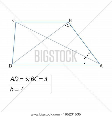 Vector illustration of the problem of determining the height of the trapezoid