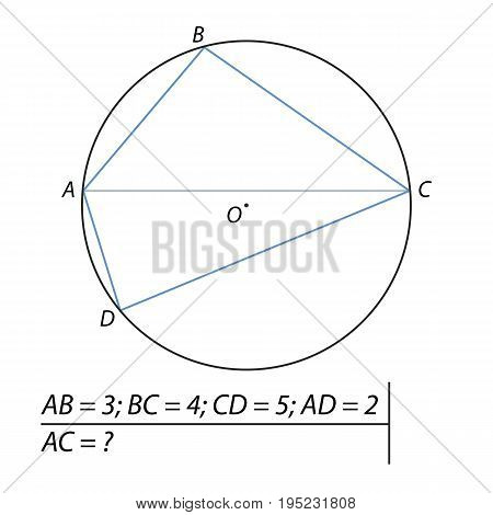 Vector illustration of the problem of finding diagonals of the quadrilateral