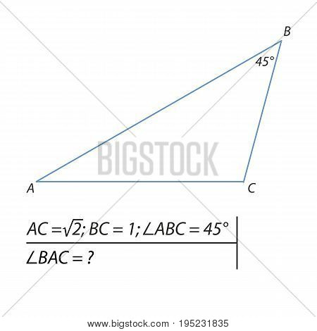 Vector illustration of a geometrical problem for finding the angle BAC