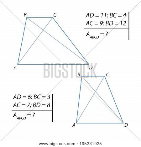 Vector illustration of a geometrical problem for finding the area of a trapezoid