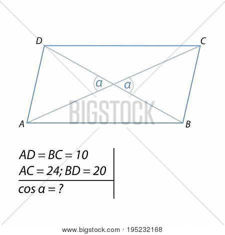Vector illustration of the problem of finding the cosine of the acute angle between the diagonals-01