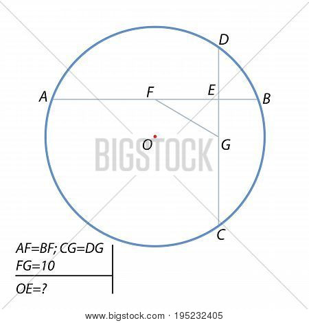 The distance between the centers of mutually perpendicular chords AB and CD of a circle is equal to 10. Find the distance from the circle center to the point of intersection of the chords.