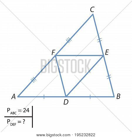 Given a triangle with a perimeter equal to 24. Find the perimeter of the triangle with vertices at the midpoints of the sides of this.