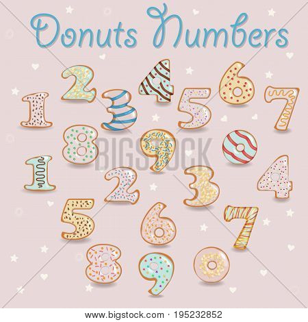 White Chocolate Donuts Numbers. Numerals with colorful cream and nuts decor. Illustration