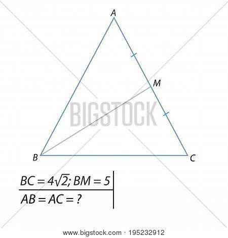 Vector illustration of the problem of finding the side of an isosceles triangle