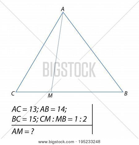 Vector illustration of the problem of determining the length of the segment in the triangle-01