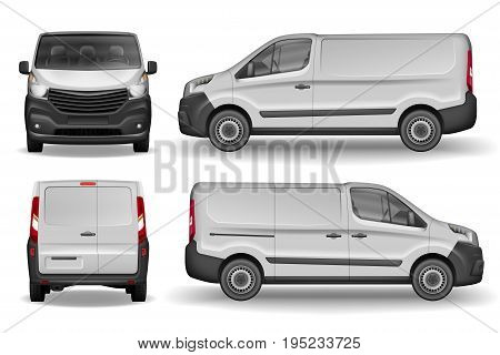 Cargo Delivery Van vector template. Realistic White Cargo Minivan isolated on white background. Easy to edit layout
