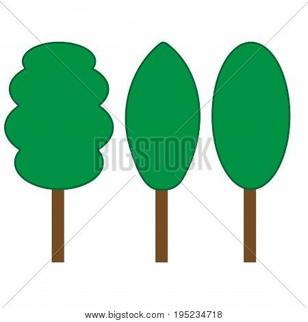 Tree green sign set. Plane icons isolated on white background. Color nature logo. Spring wood or garden symbol. Ecology flat silhouette. Hardwood mark. Stock vector illustration
