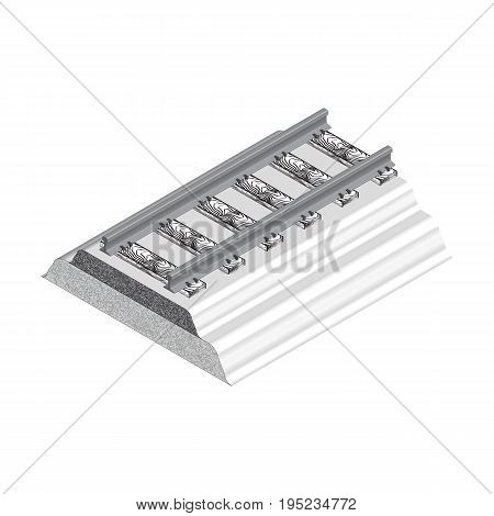3d Vector illustration. 3d isometric style. Isolated vector image of a railway track, ENP 10
