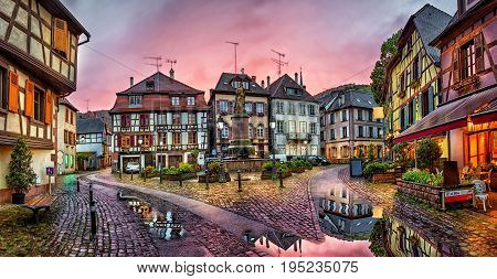 Rainy sunset in historical village Ribeauville Alsace France
