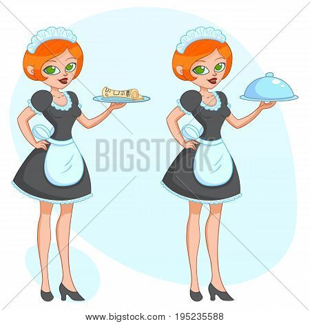 Vector cartoon illustration - Beautiful cute funny girl waitress maid brings the order newspaper eps10