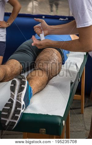 Athlete's Muscles Massage after Sport Workout, Sport Theme
