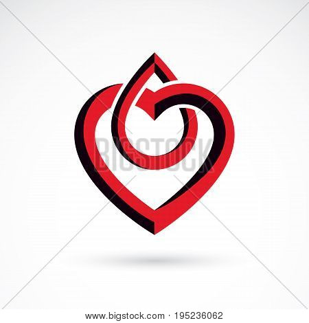 Vector illustration of heart shape isolated on white. Hematology theme medical treatment design for use in pharmacy business.
