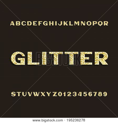 Golden glitter alphabet font. Type letters and numbers. Stock vector typeset for your design.