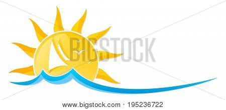 A logo of the sun with the sailing vessel and birds.
