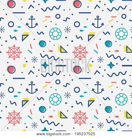 Nautical seamless pattern with anchors steering wheels lifebelts fishes and with abstract geometric shapes in memphis style. Vector retro background in white blue yellow and red colors.