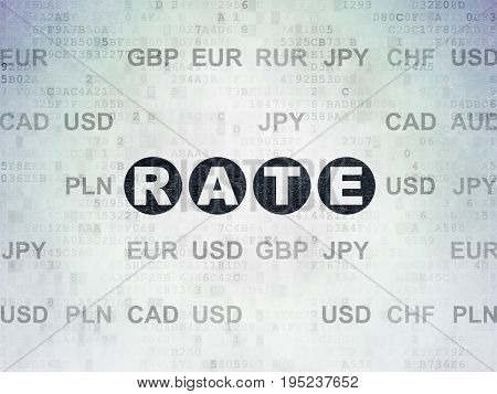 Banking concept: Painted black text Rate on Digital Data Paper background with Currency