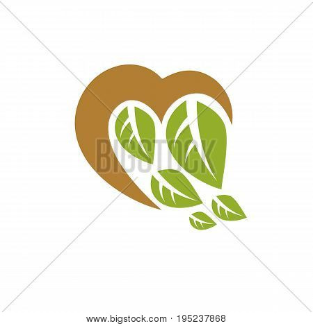 Vector illustration of romantic heart. Homeopathy creative symbol naturopathy theme.