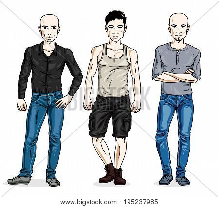 Confident handsome men posing wearing fashionable casual clothes. Vector people illustrations set. Lifestyle theme male characters.