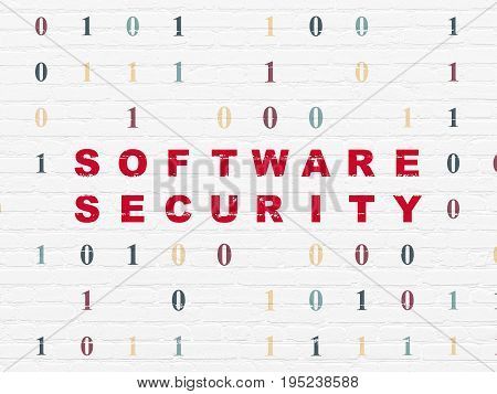 Privacy concept: Painted red text Software Security on White Brick wall background with Binary Code