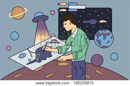 A young scientist, astronomer or engineer draws drawing. Concept on the topic of space exploration. Vector illustration.