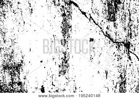 Weathered stone black and white vector texture. Old weathered concrete wall. Stains and noise for distressed effect. Scratched vintage overlay. Black ink drips on white. Monochrome asphalt background