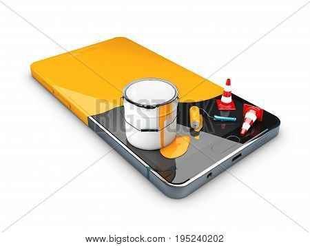 3D Illustration Of Painted In Yellow Phone, Concept Of Recovery Or Renew