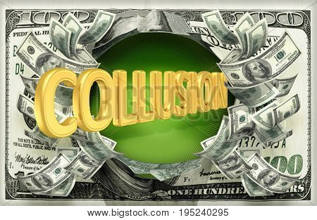 Collusion Bursting Out Of Money 3D Illustration