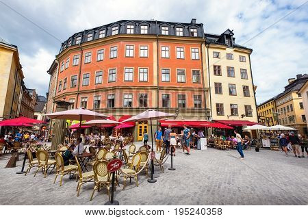 STOCKHOLM SWEDEN - JULY 08 2017: Jarntorget (The Iron Square) is a small public square inGamla Stan the old town in central Stockholm
