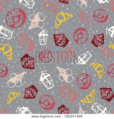 Food hand-drawn sketch line icons seamless pattern with icecream juice donut croissant on dark background. Vector illustrations