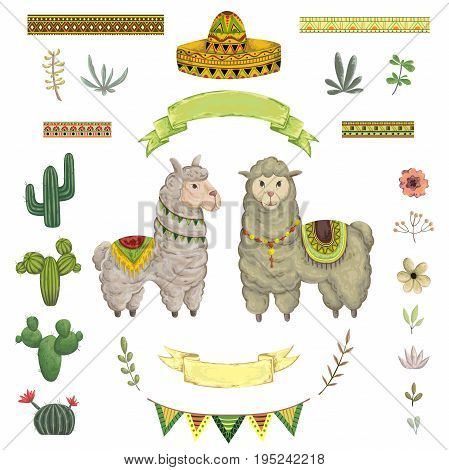 Lama animal, cacti, sombrero, ribbons, flowers and leaves. Isolated elements in watercolor style. Cartoon characters. Concept design for greeting card, poster, invitation, party. Vector illustration.