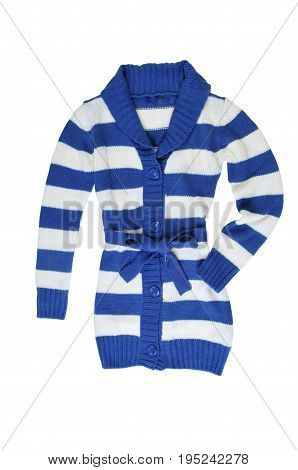 Striped White and blue knitted sweater (blouse) isolate on a white background