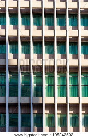Architecture Background Of Apartment Or Condominium Building Window With Light Shading