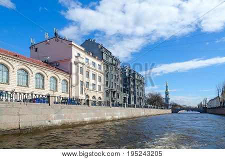 SAINT PETERSBURG RUSSIA - MAY 3 2017: Profitable house of R.G. Vege on embankment of Kryukov Canal St. Petersburg Russia