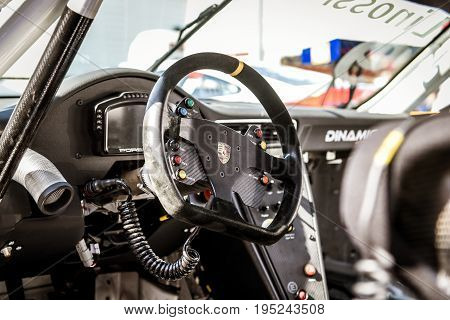 Vallelunga, Rome, Italy. June 24 2017. Porsche Carrera Racing Car Cockpit, Dashboard And Driver Seat