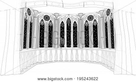 Gothic balcony in old castle 3d render illustration cartoon black and white lines background
