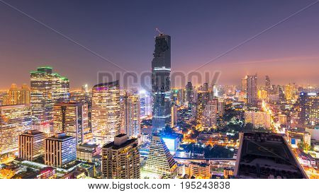 Cityscape View Of Modern Office Business Building In Business Zone At Bangkok,thailand. Bangkok Is T