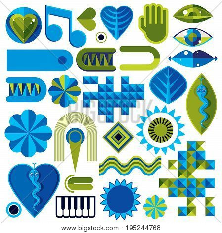 Set of different modernistic vector symbols can be used in corporate and web design. Conceptual icons collection created in nature and music theme body and face parts.