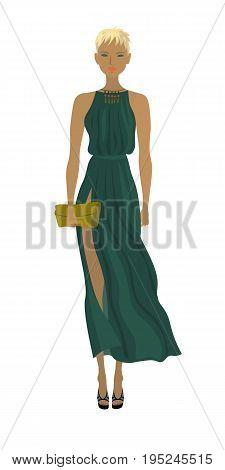 Fashion blond model in the summer dark-green long dress.Trendy outfit vector illustration isolated on white